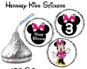 INSTANT DOWNLOAD Pink Minnie Mouse Hershey Kiss stickers age 3