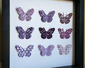 Purple Butterfly, Paper Art - perfect for a new baby or little girl's room, birth annoucement, wedding date, or anniversary date