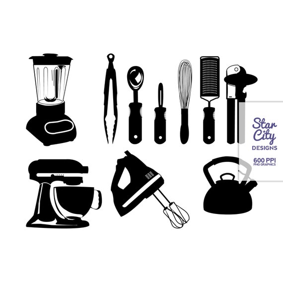 Items similar to Kitchen Clip Art, black kitchen ...
