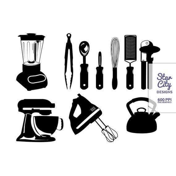 Kitchen Design Clip Art: Items Similar To Kitchen Clip Art, Black Kitchen