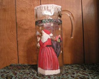 Santa Claus Pitcher, or Hand Painted Vase, Signed, Vintage  Christmas Home Decor.