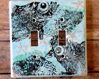 Hand Painted Nautical Fish Switch Plate