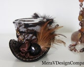 Mini Top Hat ,Steampunk Accessories, Women Headpiece, Gothic Hat, Party Hat, Mad Hatter, Tiger Print, Vintage button,Stickpin READY TO SHIP