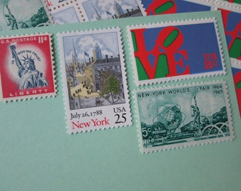 I Love New York ... Unused Vintage Postage Stamps ... Enough to Mail 5 letters