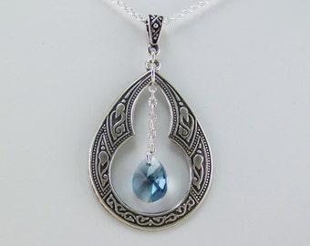 Denim blue teardrop necklace, Swarovski pear crystal teardrop, Silver keyhole pendant, Oxidized silver pendant, Blue crystal necklace, Denim
