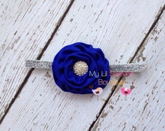 Royal blue headband - sparkly headband- newborn headband- infant headband- toddler headband- rosette headband