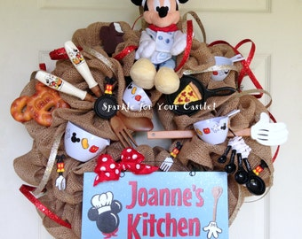 Burlap Kitchen Wreath Mickey Mouse Kitchen Wreath