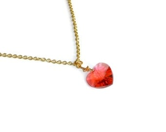 Gold Necklace with Red Swarovski Heart Pendant