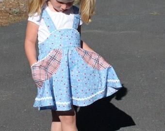 Retro school jumper pdf sewing pattern girl toddler suspender skirt pockets BETSY'S big pocket JUMPER SKIRT