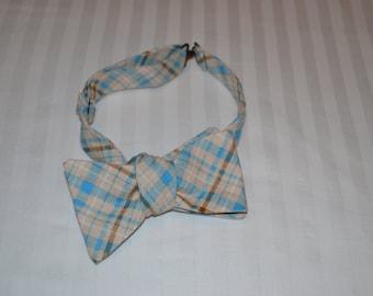 Light Blue and Khaki Plaid Bow Tie