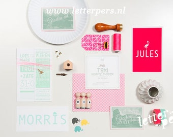 Birth announcement, wedding invintations and businesscards