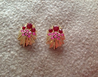 Vintage Lisner Clip on Earrings in Gold Tone with Red ad Pink Stones