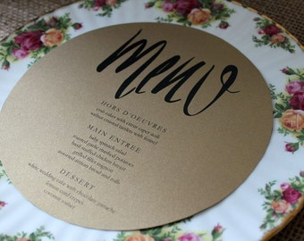 circle menu - wedding reception or party - gold metallic paper
