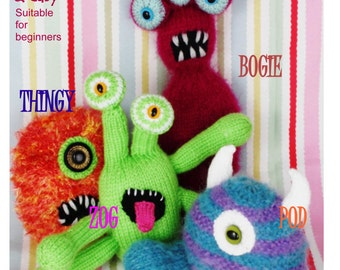 monsters and aliens  PDF email knitting pattern