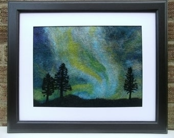 OOAK hand made Aurora Borealis Northern Lights wet felted picture