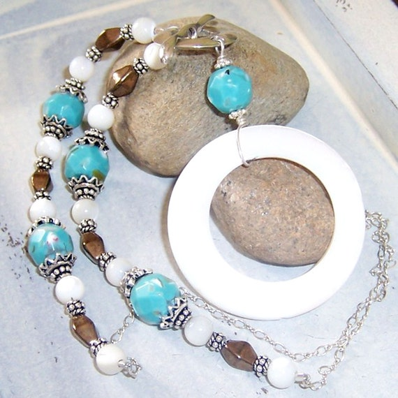 White Shell Pendant Necklace, Turquoise & Copper Necklace, Front Toggle Clasp Necklace, White and Turquoise Necklace