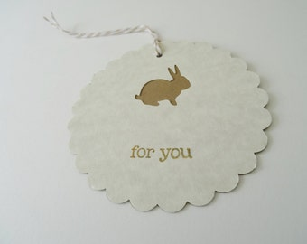 Bunny Rabbit Gift Tags, Kraft Brown and Beige Gift Tags, Shower Favor Tags, For You Stamped Gift Tags, Card Stock, Set of 4