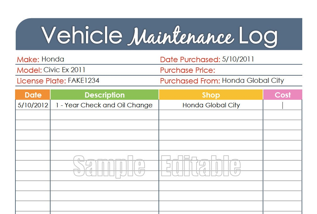 Vehicle Maintenance Log Car Maintenance Log by ...