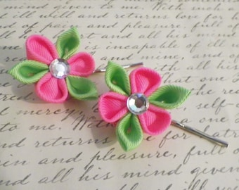 Neon Pink and Lime Green Bobby Pins