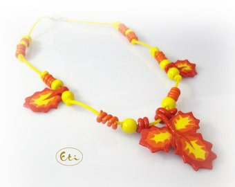 Leaves necklace,  air dry clay, cold porcelain, yellow, orange, red