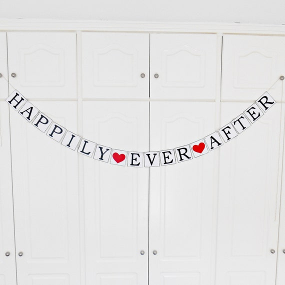 FREE SHIPPING, Happily Ever After banner, Wedding banner, Bridal shower banner, Engagement party decoration, Photo prop, Bachelorette party