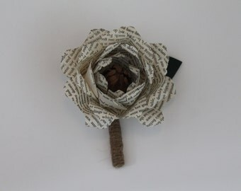 Peony book paper flower boutonniere