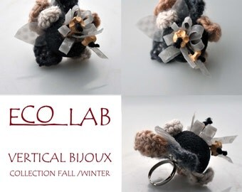ring in wool, buttons and plastic