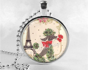 POODLE Pendant Necklace, French Poodle, Eiffel Tower, Vintage Christmas Poodle, Shabby French Poodle Jewelry, Dog Breed Jewelry