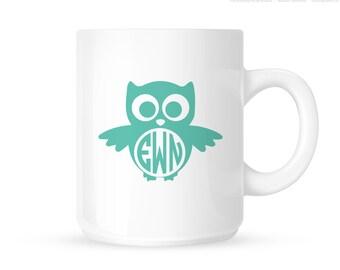 Personalized Monogram Owl Mug - Owl Coffee Mug - Initial Mug - Monogram Owl Mug - 11oz - Ceramic
