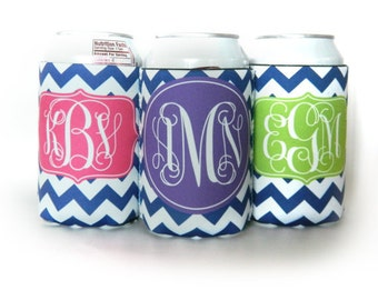 Personalized Monogram Cooler for 12oz can or bottle - Custom Made - Design your Own