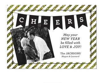 New Years Photo Card: Cheers with Glitter Stripes