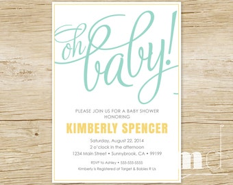 Oh Baby Shower Invitation, Gender Neutral Baby Shower Invite, Scripted New Baby Invitation, Green Yellow Typography Card, PRINTABLE
