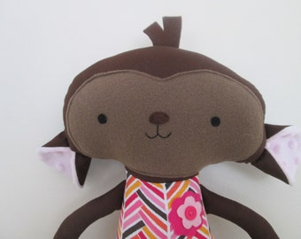 Monkey Softie (18 inch) Dressed in Pink Herringbone Outfit- Baby or Toddler Gift- Made to Order