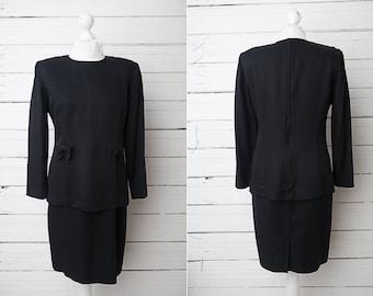 Black Vintage Mini Long Sleeve Peplum Dress / Little Black Dress / US Size 8 / 80s Black Dress / Fitted Black Dress / Black Secretary Dress