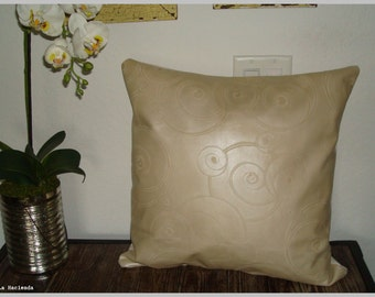 Shimmery Cream Embossed Circles Cowhide Leather & Linen Throw Pillow Cover or Slip