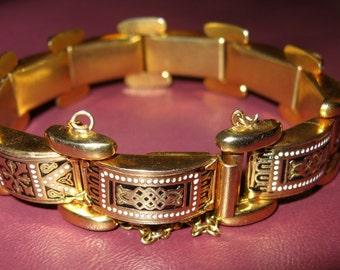 Brilliant Spanish Damascene Gold Tone Black Enamel Panel Link Bracelet with Safety Chain