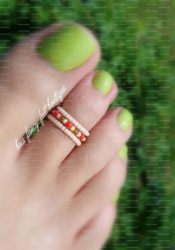 Stacking Toe Ring  - Coral Red Stones - Apricot Micro Beads- Topaz - Stretch Bead Toe Ring