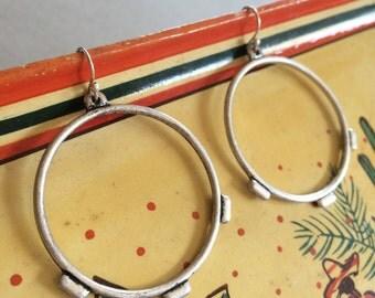 """LG Hoop Earrings, Oxidized Pewter Earrings, Mexican Hoop Earrings, 1.5"""", 1pr"""