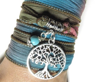 Bohemian Tree Of Life Silk Wrap Bracelet  Yoga Jewelry Yoga Necklace Spiritual Jewelry Turquoise Wrist Band Unique Christmas Gift For Her