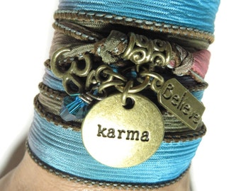 Spiritual Karma Om Silk Wrap Bracelet Yoga Jewelry Bohemian Jewelry Turquoise Wrap Bracelet Christmas Stocking Stuffer Birthday Unique Gift