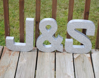"12"" Large Silver Glitter Stand Up Decorative Letters and Ampersand &, Anniversary, Wedding Reception Table, Photo Prop"