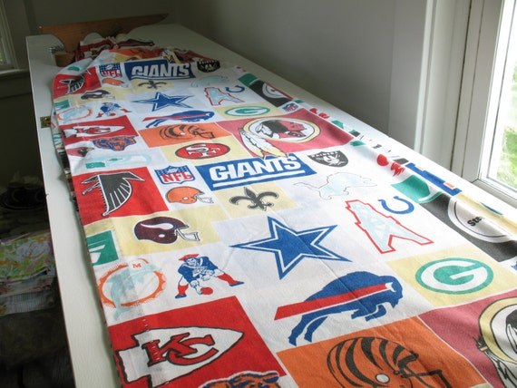 Vintage nfl football curtains sports fabric drapes upcycle for Boys curtain material