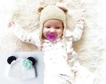 Crochet Bear Hat Pattern Bear Hat Crochet Pattern Crochet Earflap Hat Pattern Ear Flap Baby Hat Hat with Ear Flaps Women's Ear Flap Hat PDF
