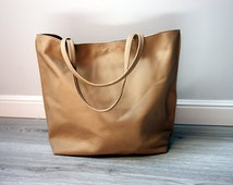 Beige Shopper Tote Bag Leather shopper bag Zipp