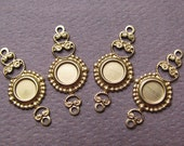 Raw Brass Connector Cabochon Settings - Brass Filigree Connector Charms - 23mm x 10mm