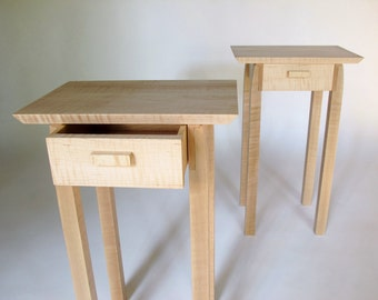 Pair of Nightstands- Small Bed Side Tables, Set of Narrow End Tables with drawers: Modern Wood Furniture- Handmade Custom Tables