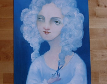 """Fancy Boy Wig Portrait: """"Hair Apparent"""" // 11x17 print of original painting // wall art //pop surreal whimsy"""