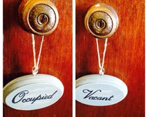 Popular items for vacant occupied sign on etsy for Bathroom occupied sign