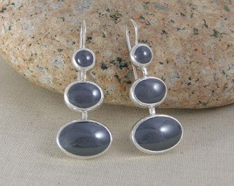 Three Stone Chandelier Earrings, Grey Hematite and Sterling Silver
