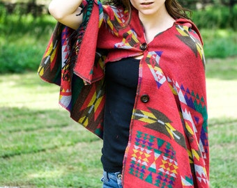 Red Reversible Aztec Navajo Hooded Shawl